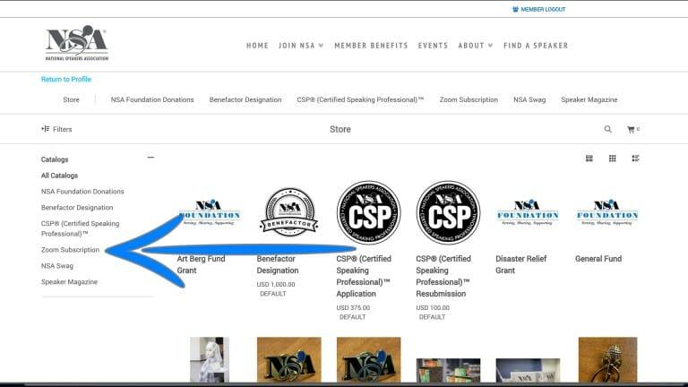 Screenshot of Zoom Subscription option