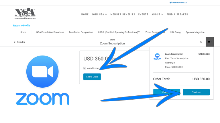 Screenshot showing how to order the Zoom subscription